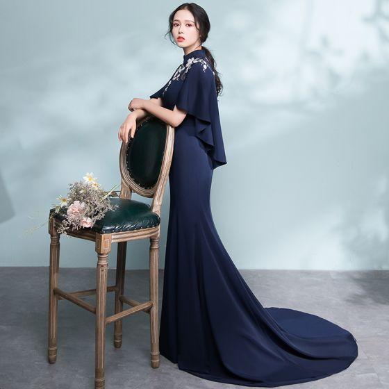 Elegant Navy Blue Evening Dresses  2018 Trumpet / Mermaid Lace Flower Pierced High Neck Short Sleeve Court Train Formal Dresses