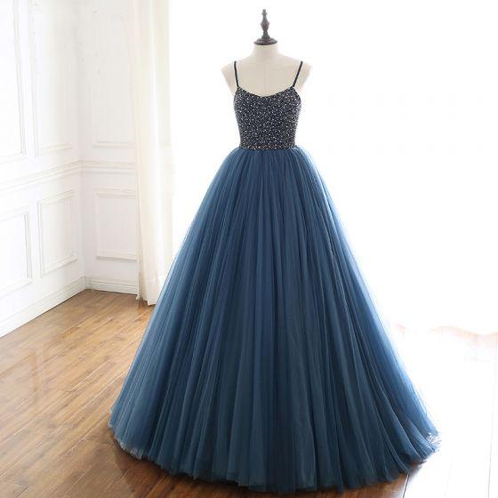 Charming Ocean Blue Prom Dresses 2019 A-Line / Princess Spaghetti Straps Beading Pearl Sequins Sleeveless Backless Floor-Length / Long Formal Dresses