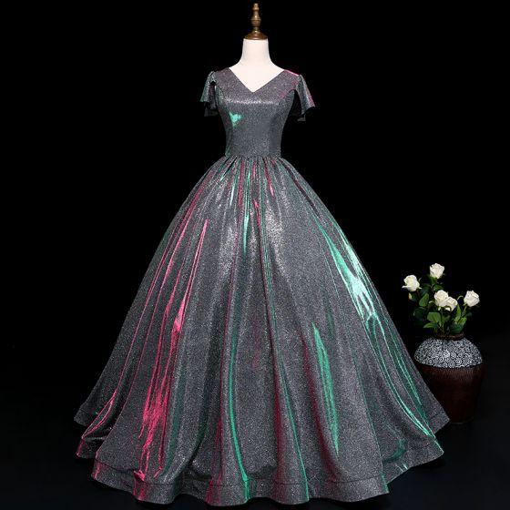 Vintage / Retro Silver Prom Dresses 2019 A-Line / Princess V-Neck Sequins Short Sleeve Backless Floor-Length / Long Formal Dresses