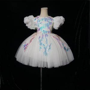 Chic / Beautiful White Birthday Flower Girl Dresses 2020 Ball Gown Scoop Neck Puffy Short Sleeve Appliques Sequins Short Ruffle Wedding Party Dresses