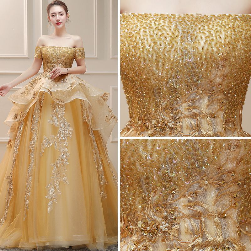 Luxury / Gorgeous Gold Wedding Dresses 2019 Ball Gown Off-The-Shoulder Short Sleeve Backless Appliques Lace Handmade  Beading Sequins Cathedral Train Ruffle