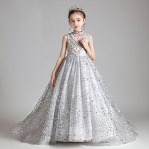 Eleganckie Szary Urodziny Sukienki Dla Dziewczynek 2020 Suknia Balowa Przezroczyste Wysokiej Szyi Bez Rękawów Aplikacje Cekiny Frezowanie Trenem Sweep Wzburzyć