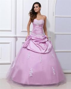 Ball Gown Taffeta Gauze Applique Flower Sweetheart Sleeveless Backless Floor Length Quinceanera Prom Dress