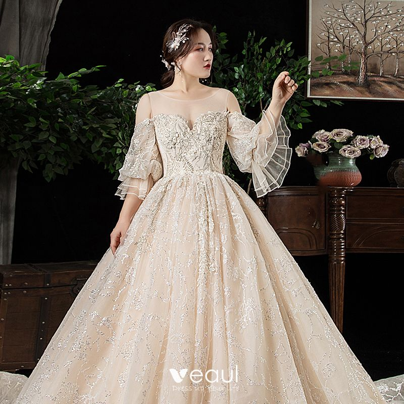 Chic / Beautiful Champagne See-through Plus Size Wedding Dresses 2020 Scoop  Neck Puffy 3/4 Sleeve Backless Appliques Lace Beading Cathedral Train ...