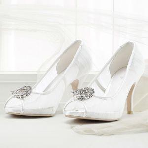Chic / Beautiful Summer White Wedding Shoes 2018 Leather Lace Rhinestone 8 cm Stiletto Heels Open / Peep Toe Wedding High Heels