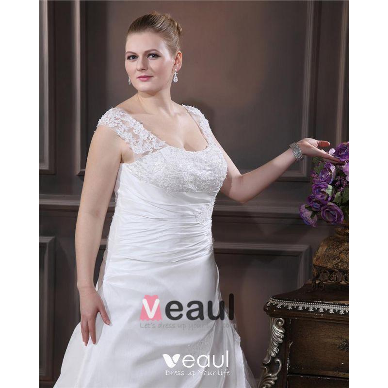 Designer Beading Round Neck Court Plus Size Bridal Gown Wedding Dresses