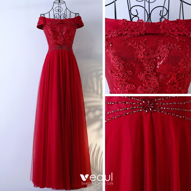 Chic / Beautiful Red Formal Dresses 2017 A-Line / Princess Lace Flower Bow Beading Backless Off-The-Shoulder Short Sleeve Floor-Length / Long Evening Dresses