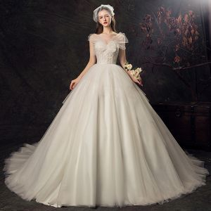 Audrey Hepburn Style Champagne Wedding Dresses 2019 Ball Gown Scoop Neck Lace Flower Short Sleeve Backless Cathedral Train