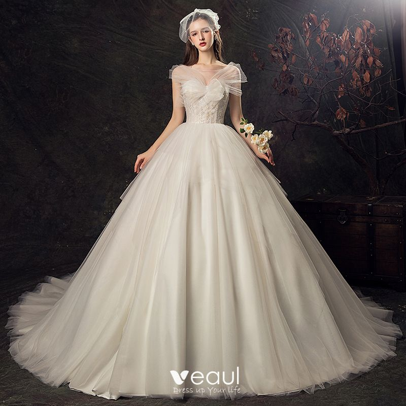 Wedding Dress Ball Gown Style: Audrey Hepburn Style Champagne Wedding Dresses 2019 Ball