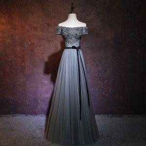 Chic / Beautiful Grey Evening Dresses  2018 A-Line / Princess Off-The-Shoulder Short Sleeve Sash Beading Floor-Length / Long Ruffle Backless Formal Dresses