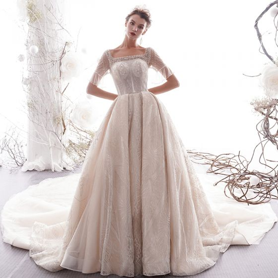 Classy Champagne See-through Wedding Dresses 2019 Princess Square Neckline Bell sleeves Backless Beading Appliques Lace Glitter Tulle Cathedral Train Ruffle