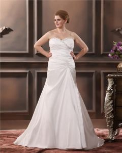 Satin Organza Embroidery Beading Sweetheart Court Plus Size Bridal Gown Wedding Dress