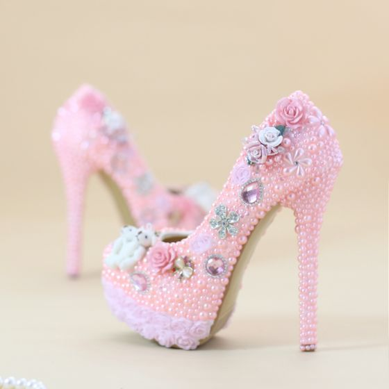 Chic Beautiful Candy Pink Wedding Shoes 2019 Appliques