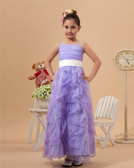 Cute Ball Gown Spaghetti Straps Ankle-Length Satin Organza Applique Beading Flower Girl Dress