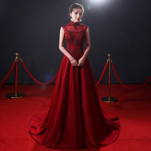 Vintage / Retro Burgundy See-through Evening Dresses  2019 A-Line / Princess High Neck Sleeveless Beading Court Train Ruffle Backless Formal Dresses