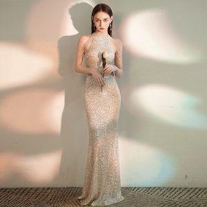 Glitzernden Champagner Abendkleider 2020 Meerjungfrau Rundhalsausschnitt Ärmellos Pailletten Perlenstickerei Lange Festliche Kleider