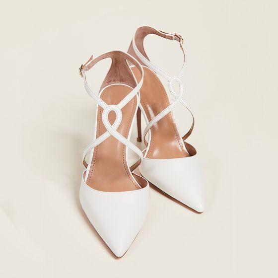 Eenvoudige Ivoor Straatkleding Sandalen Dames 2020 X-Strap 10 cm Naaldhakken / Stiletto Spitse Neus Hakken