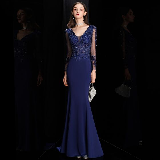 Illusion Royal Blue See-through Evening Dresses  2020 Trumpet / Mermaid Deep V-Neck Long Sleeve Pierced Appliques Lace Beading Sweep Train Ruffle Backless Formal Dresses