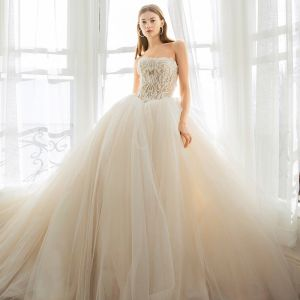 Modern / Fashion Champagne Wedding Dresses 2019 Ball Gown Strapless Lace Beading Sleeveless Backless Cathedral Train Wedding