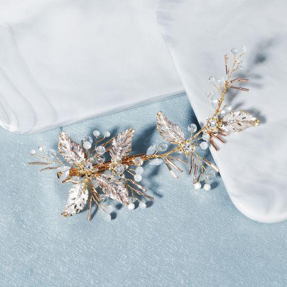 Mooie / Prachtige Goud Haaraccessoires Huwelijk Accessoires 2020 Legering Kristal Rhinestone Bruids Haaraccessoires