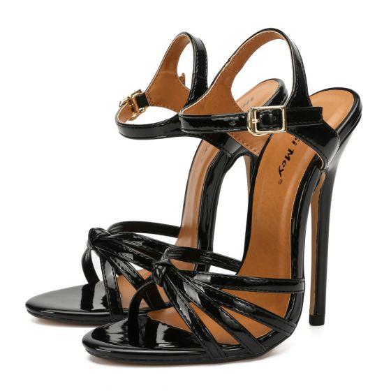 Fine Svart Gateklær Sandaler Dame 2020 14 cm Stiletthæler Ankelstropp Peep Toe Sandaler