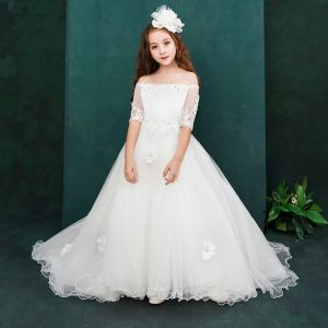 Chic / Beautiful White Flower Girl Dresses 2019 A-Line / Princess Off-The-Shoulder 1/2 Sleeves Appliques Lace Beading Sweep Train Ruffle Backless Wedding Party Dresses