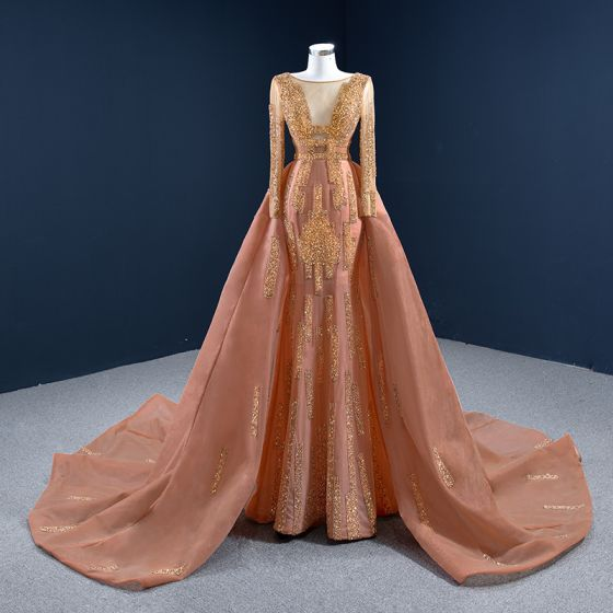 Luxury / Gorgeous Orange Red Carpet Evening Dresses  2020 A-Line / Princess See-through Scoop Neck Long Sleeve Handmade  Beading Sequins Court Train Ruffle Backless Formal Dresses