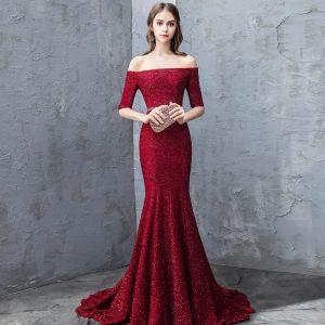Sparkly Burgundy Evening Dresses  2019 Trumpet / Mermaid Off-The-Shoulder Lace Sequins Short Sleeve Backless Sash Court Train Formal Dresses