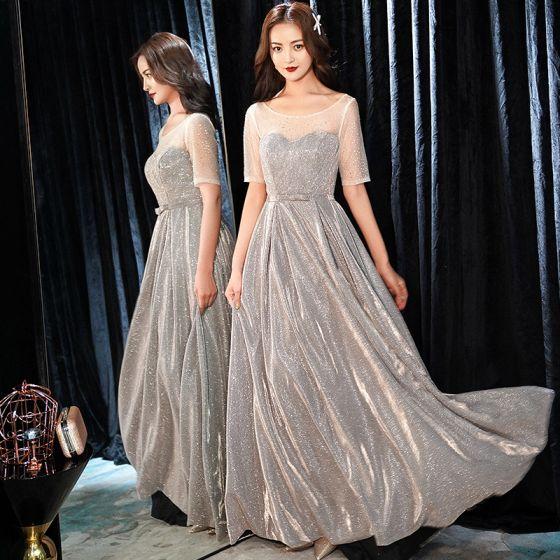 Brillante Plata Vestidos de noche 2019 A-Line / Princess Scoop Escote Rhinestone Glitter Poliéster Bowknot 1/2 Ærmer Sin Espalda Largos Vestidos Formales