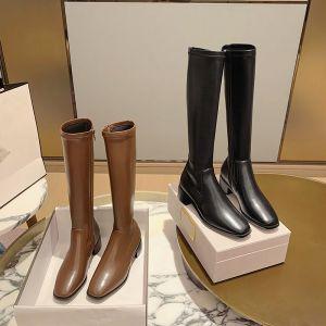Mode Winter Chocolade Straatkleding Dames Laarzen 2021 Leer Mid Kalf 4 cm Dikke Hak Lage Hak Vierkante Teen Laarzen