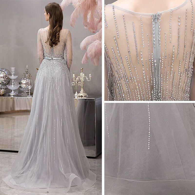 High-end Grey See-through Evening Dresses  2019 A-Line / Princess Square Neckline Long Sleeve Feather Rhinestone Beading Floor-Length / Long Ruffle Formal Dresses