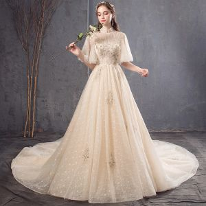Vintage / Retro Champagne Wedding Dresses 2019 A-Line / Princess High Neck Bell sleeves Backless Appliques Lace Beading Pearl Sequins Chapel Train Ruffle