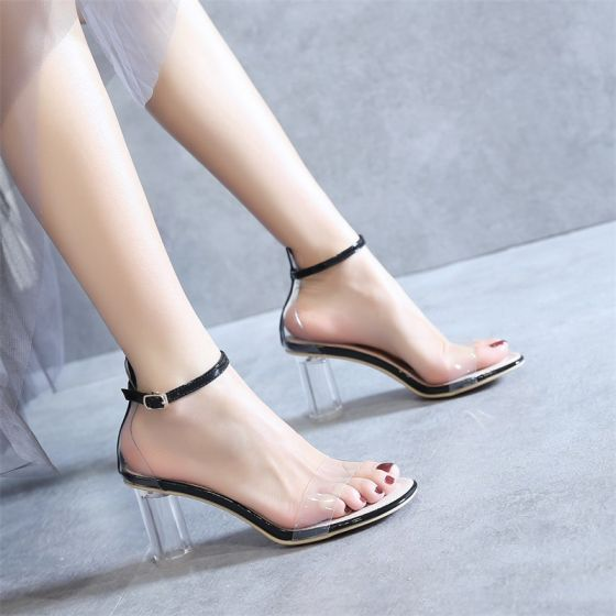 Sexig Transparent Svarta Fest Sandaler Dam 2020 Lackläder Ankelband 8 cm Tjocka Klackar Peep Toe Sandaler