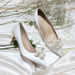 Modern / Fashion Ivory Bridesmaid Wedding Pumps 2020 Leather Pearl 6 cm Stiletto Heels Pointed Toe Wedding Shoes