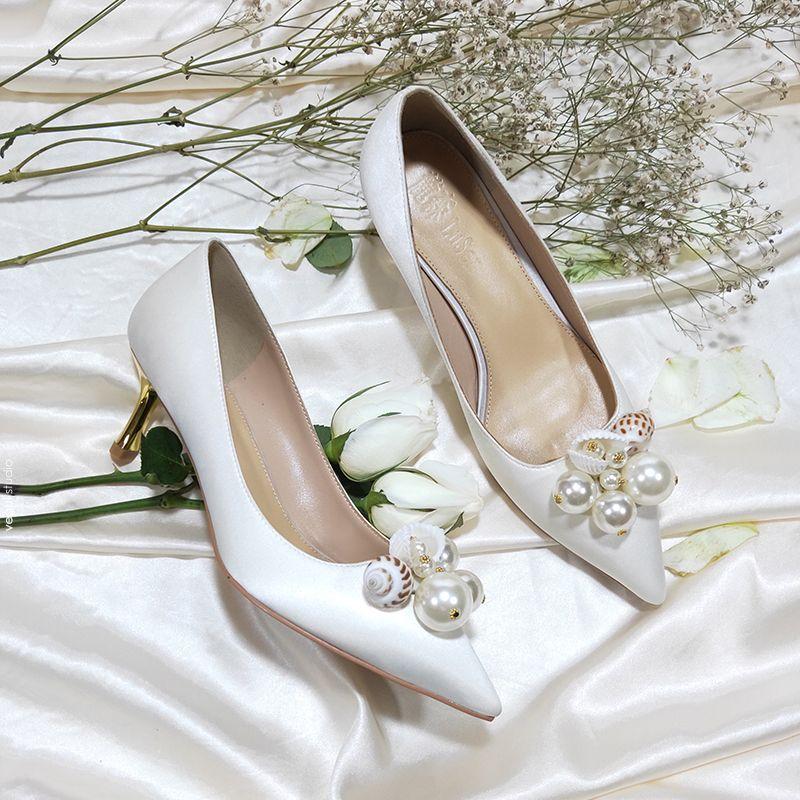 Modern / Fashion Ivory Bridesmaid Wedding Pumps 2020 Leather Pearl 6 cm Stiletto Heels Pointed Toe Wedding Shoes