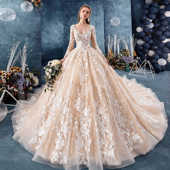 Romantic Champagne See Through Wedding Dresses 2019 Ball Gown V Neck Long Sleeve Backless Appliques Lace,Ball Gown Wedding Dress Sparkle