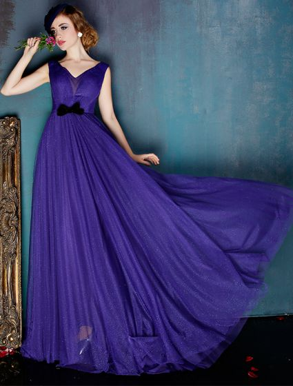 Glamorös Lila Aftonklänning Glitter Tyll Formell Klädsel Med Rosett Skärp