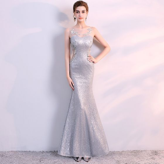 Sparkly Silver Evening Dresses  2017 Trumpet / Mermaid Lace U-Neck Appliques Backless Sequins Evening Party Formal Dresses