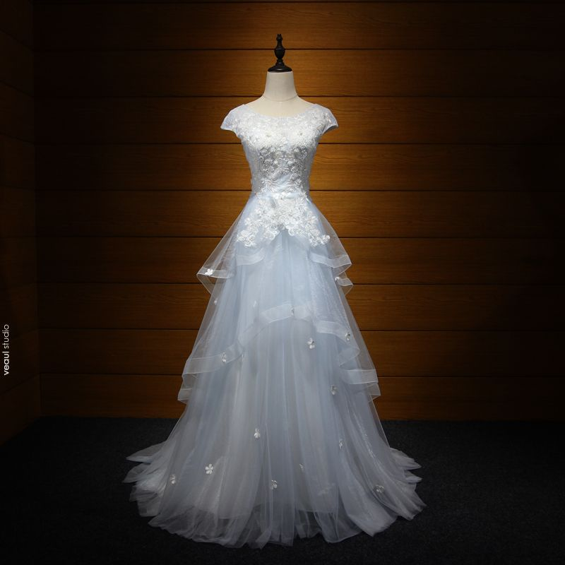 Chic / Beautiful Evening Dresses  2017 Sky Blue A-Line / Princess Sweep Train Cascading Ruffles Scoop Neck Short Sleeve Backless Pearl Sequins Lace Appliques