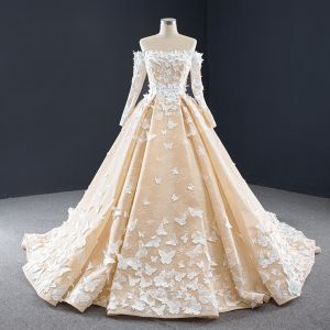 Luxury / Gorgeous Champagne Lace Butterfly Wedding Dresses 2020 A-Line / Princess Off-The-Shoulder Long Sleeve Backless Chapel Train