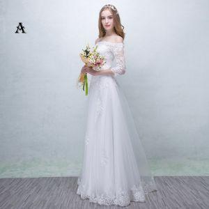 Chic / Belle Église Robe De Mariée 2017 En Dentelle Appliques Dos Nu Ceinture Encolure Carrée 3/4 Manches Princesse Longue