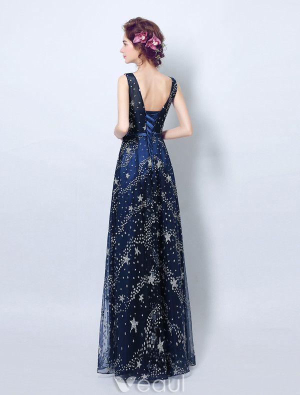 Sparkly Evening Dresses 2017 Scoop Neckline Navy Blue Tulle Long Dress