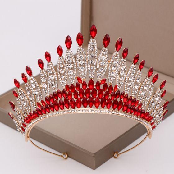 Amazing / Unique Red Rhinestone Tiara Bridal Hair Accessories 2020 Alloy Zircon Wedding Accessories
