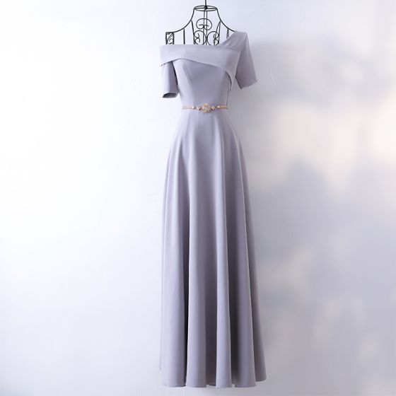 Elegant Silver Evening Dresses  2017 A-Line / Princess Metal Sash One-Shoulder Backless Short Sleeve Ankle Length Evening Party