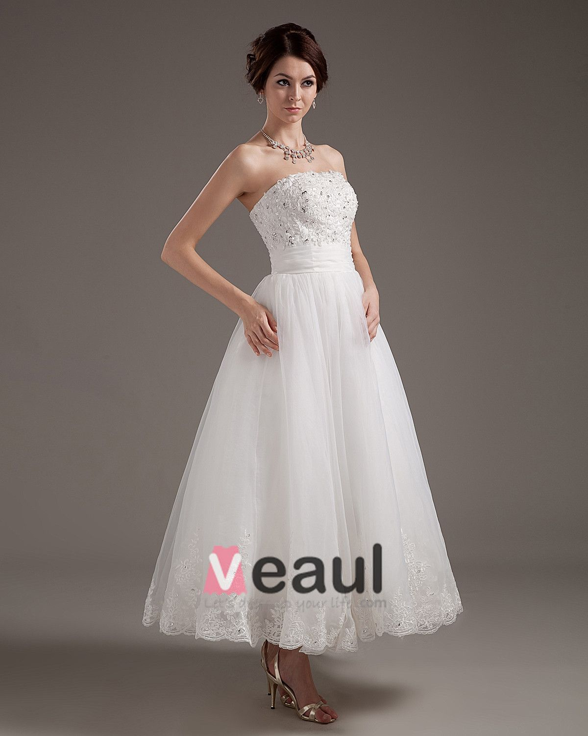 Lace Applique Satin Yarn Strapless Short Mini Wedding Dresses