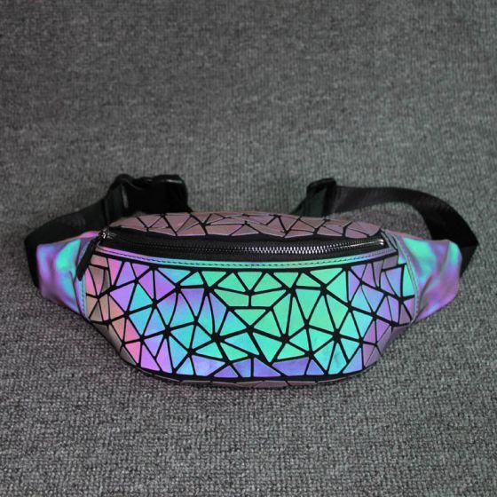 Unieke Multi-Kleuren Lichtgevend Geometrische Heuptas 2021 PU Holografisch Reflecterend Dames Tassen