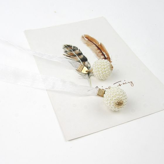Flotte Hvide Bryllup Skærf  2020 Metal Beading Perle Tulle Selskabs Galla Accessories