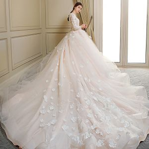 Chic / Beautiful Champagne Wedding Dresses 2018 Ball Gown Appliques Bow Scoop Neck Long Sleeve Royal Train Wedding