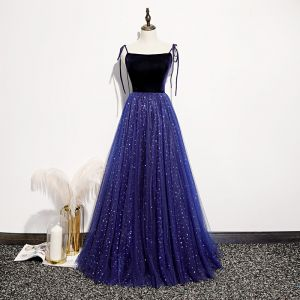 Chic / Beautiful Royal Blue Suede Evening Dresses  2020 A-Line / Princess Spaghetti Straps Sleeveless Glitter Tulle Floor-Length / Long Ruffle Backless Formal Dresses