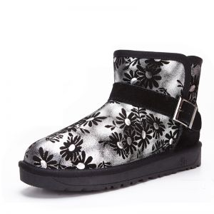 Modern / Fashion Snow Boots 2017 Black Leather Ankle Patent Leather Buckle Printing Casual Winter Flat Womens Boots